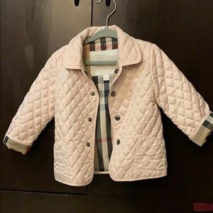 Authentic Girls Pink Burberry Quilted Coat